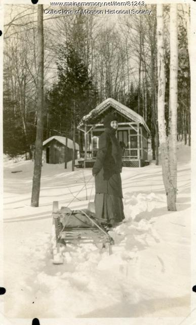 Winter Scene at Lambert camp, Monson, 1921