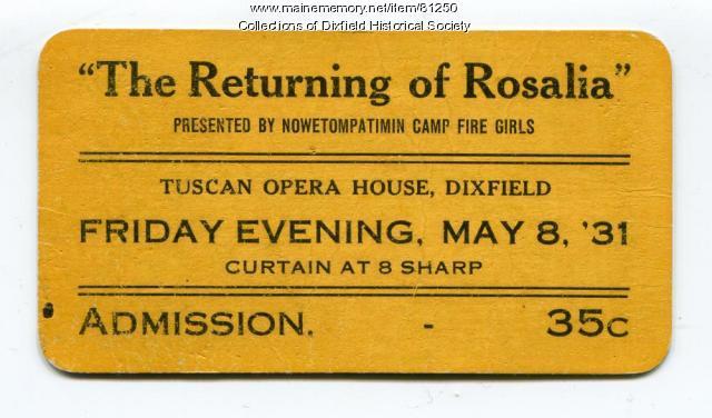 Play Ticket, Dixfield, 1931