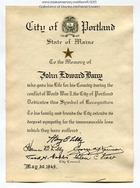 Symbol of Recognition for John Edward Barry, Portland, 1945