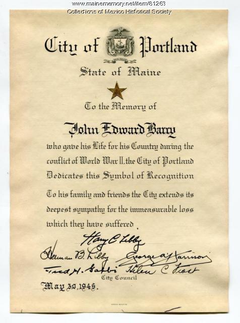 Symbol of Recognition for John Edward Barry, Portland, 1945