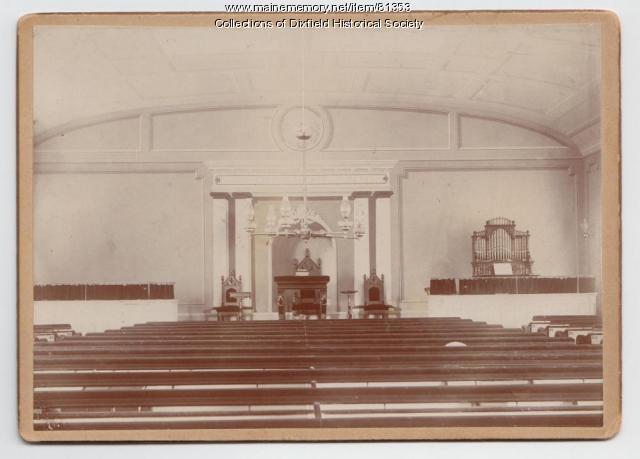Interior Universalist Church, Dixfield, ca. 1900