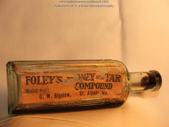 Foley's Honey and Tar Compound bottle, ca. 1895, St. Albans