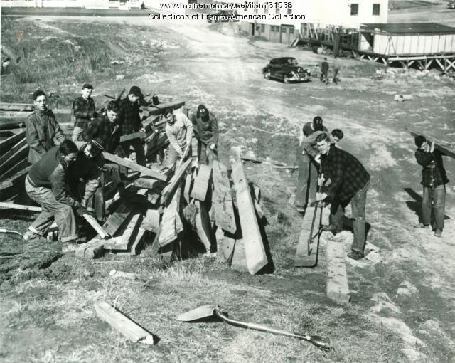Clearing the Debris at St. Dominic's Arena, Lewiston, 1956