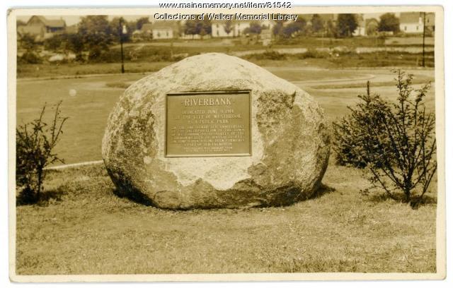 Riverbank Park Dedication Plaque on boulder, Westbrook, ca. 1915