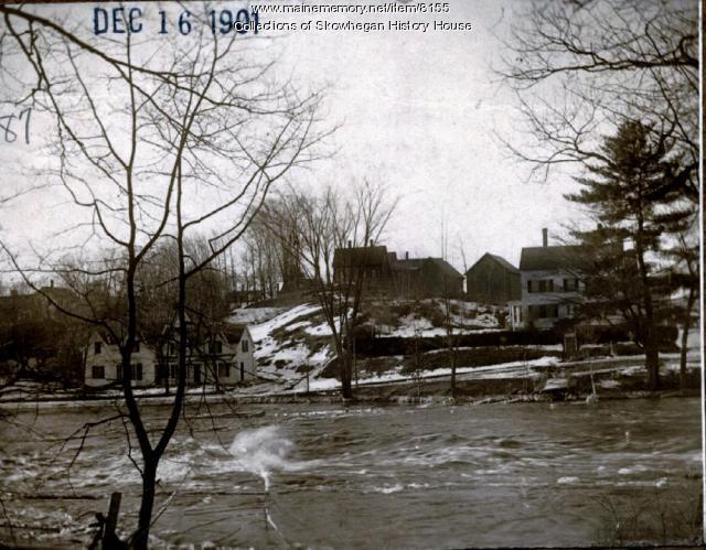Looking from Island, toward Alder Street, Skowhegan, 1901