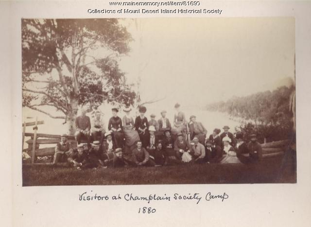 Visitors at Champlain Society Camp, Mount Desert Island, 1880