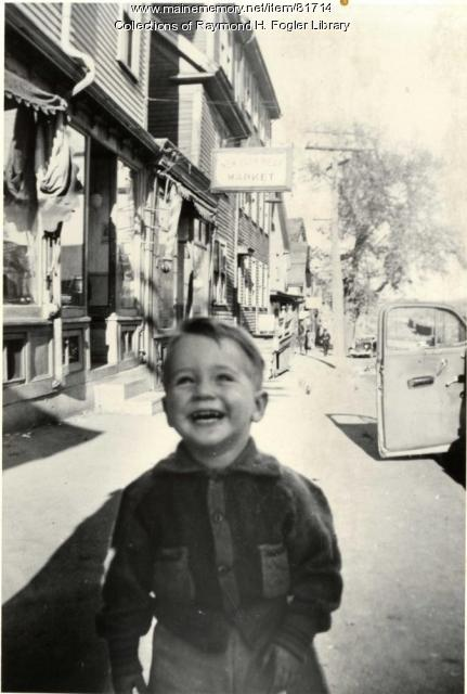 William S. Cohen on Hancock Street, Bangor, ca. 1943