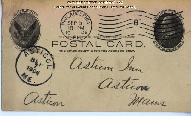 Postcard with Asticou Maine postmark, 1906