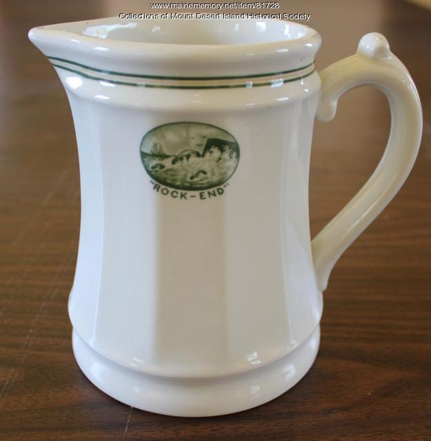Rock End Hotel stoneware pitcher, Northeast Harbor, ca. 1890