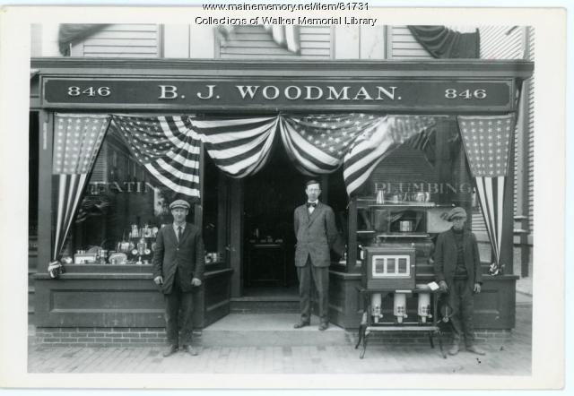 B. J. Woodman Plumbing and Heating, Westbrook, ca. 1915