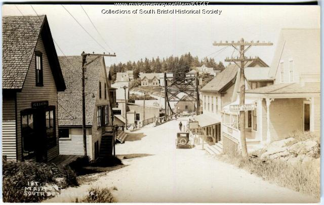 Looking north toward the bridge and mainland, South Bristol, ca. 1926