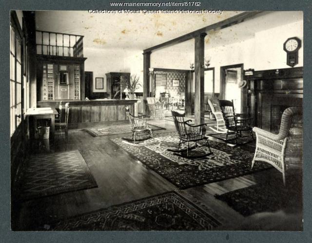 Asticou Inn lobby with Post Office, Northeast Harbor, ca. 1905