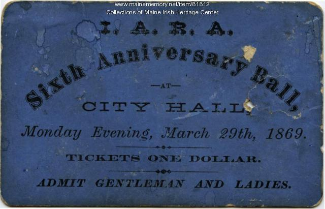 Irish relief event ticket, Portland, 1869