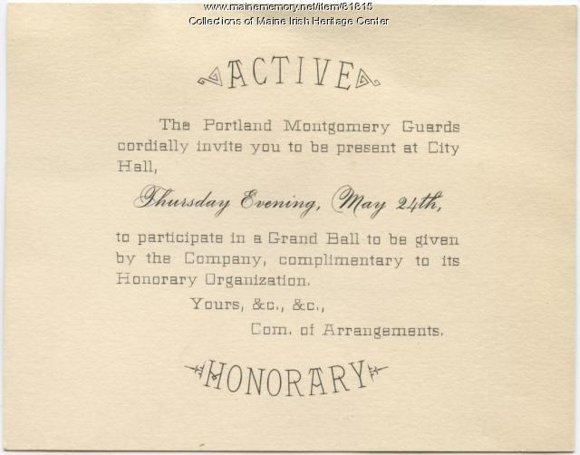 Montgomery Guards Grand Ball invitation, Portland, ca. 1883