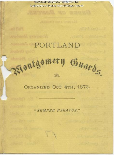 Montgomery Guards dance list, Portland, ca. 1880