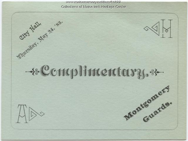 Montgomery Guards Complimentary Ticket, Portland, 1883
