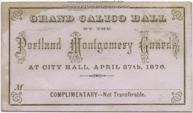 Montgomery Guards Grand Calico Ball ticket, Portland, 1876
