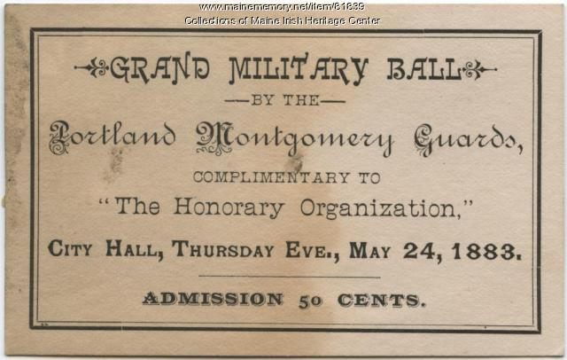 Montgomery Guards Grand Military Ball ticket, Portland, 1883