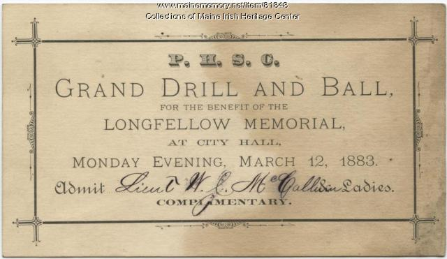 Portland High School Cadets Grand Ball and Drill Ticket, Portland, 1883