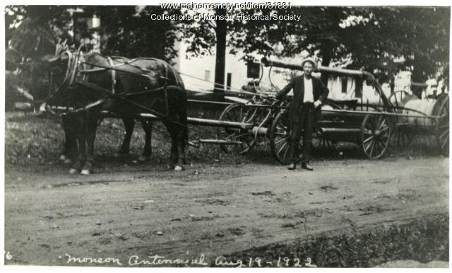 Monson's Fire Equipment on parade, Monson, 1922