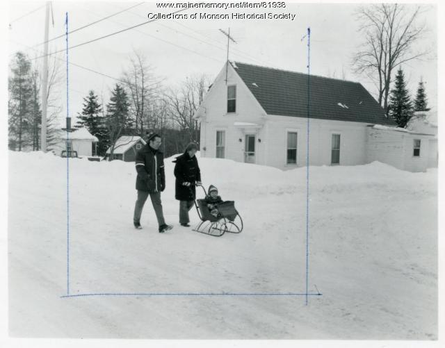 Antique baby sleigh, Monson, February 8, 1975