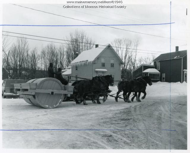 Antique snowroller, Monson, 1975