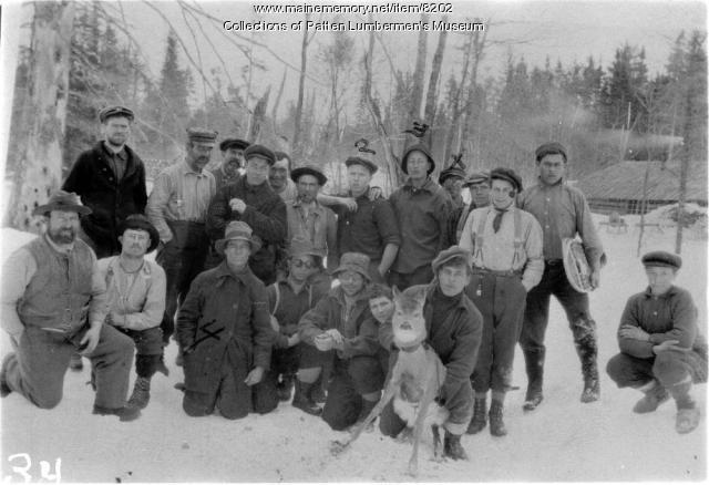 Winter woods camp crew with deer