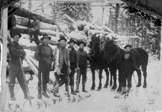 Crew, team, and log pile, Dean Lumber Co., Bangor, 1897