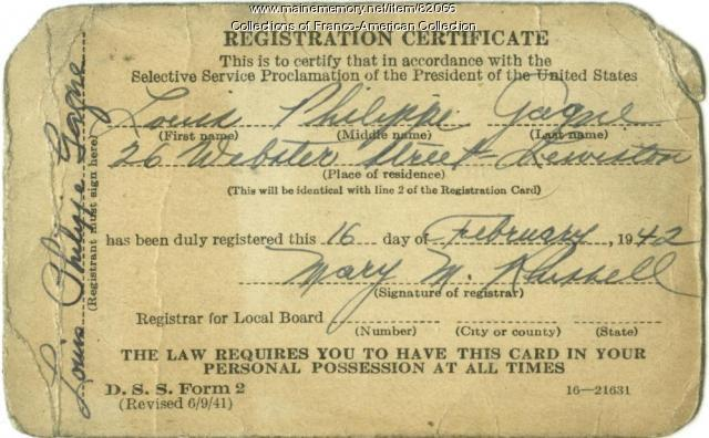 World War II draft card, Lewiston, 1942