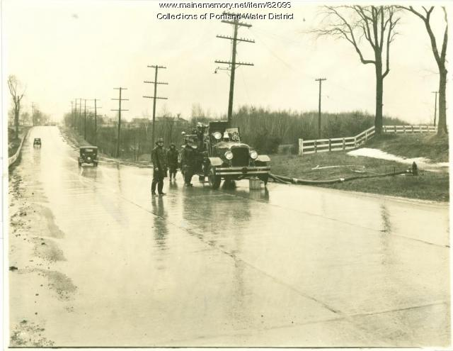 Portland Engine 4 Fire Truck Pumping Water to Saco during the Flood of 1936