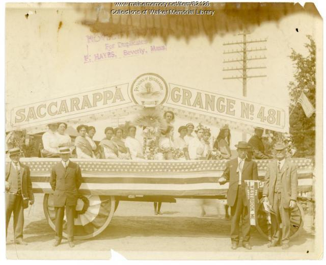 Saccarappa Grange #481 centennial celebration float, Westbrook, 1914