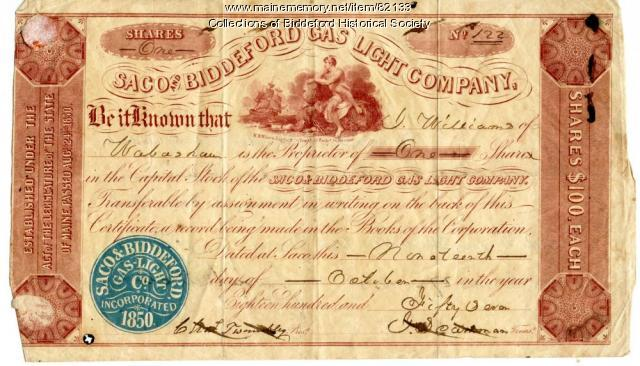 Biddeford and Saco Gas Light Company stock certificate, ca. 1857