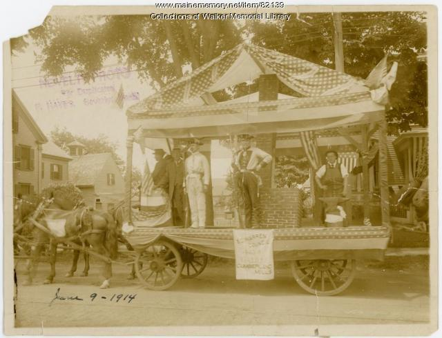 Order of the United American Mechanics float, Westbrook, 1914