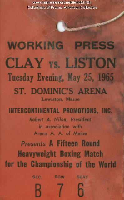 Press ID Badge, Clay-Liston Boxing Match, Lewiston, 1965