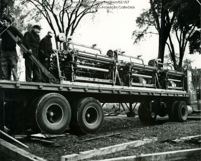 New looms arriving at the Hill Mill, Lewiston, October 1961