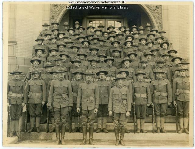 U. S. Army unit on Walker Memorial Library steps, Westbrook, 1917