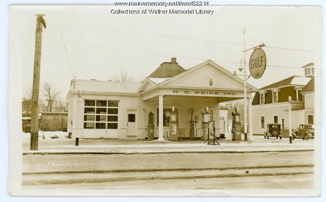 M. G. Pride Inc. filling station, Westbrook, ca. 1938