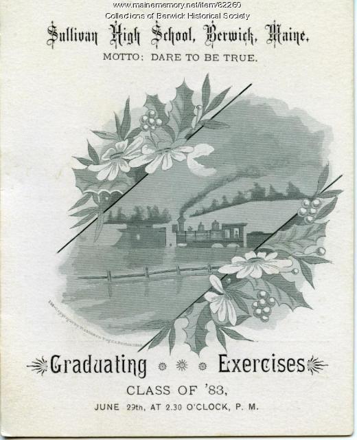Sullivan High School graduation announcement, Berwick, 1883