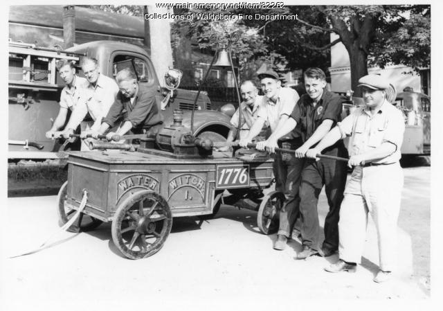 Firemen and Fire Engine 1, 'Water Witch,' Waldoboro, ca. 1945