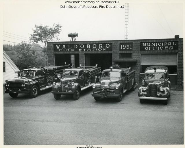 Fire Engines at Jefferson Street Station, Waldoboro, ca. 1960