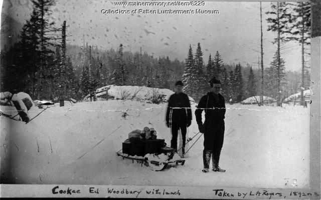 Men pulling a sled, ca. 1892