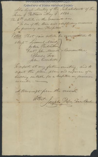 Resolution on building hospital, Portland, 1824