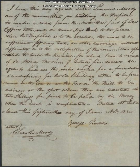 Agreement to build road to hospital, Portland, 1824