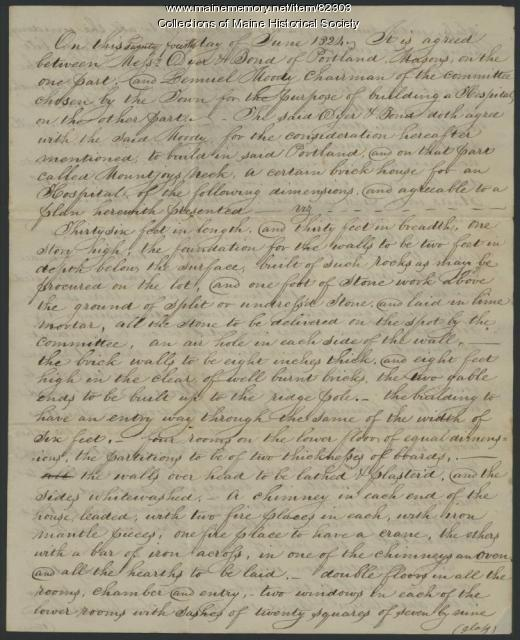 Contract to build hospital, Portland, 1824