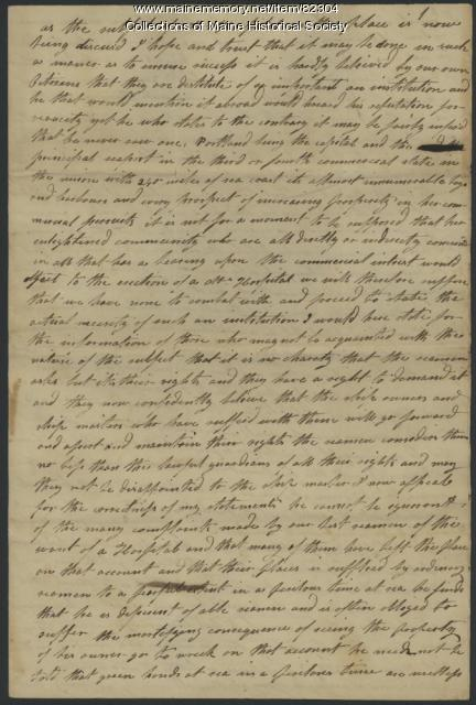 Commentary on seaman and marine hospital, Portland, ca. 1835