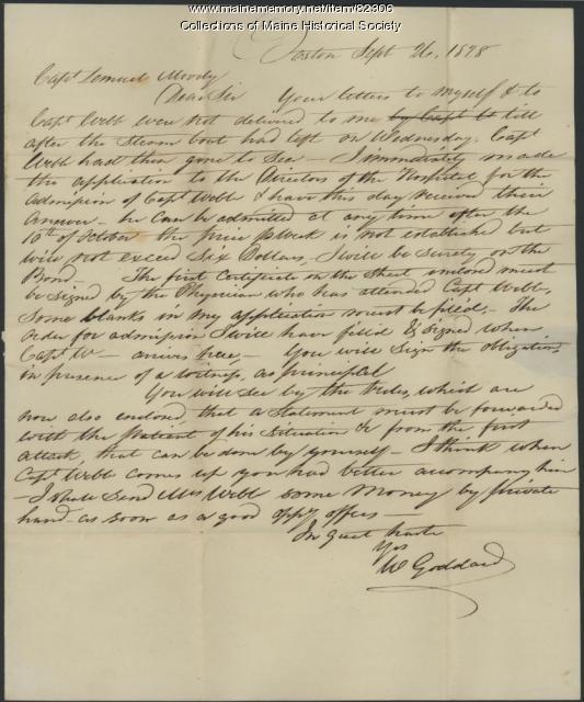 Permission for Capt. Webb to enter hospital, Portland, 1828