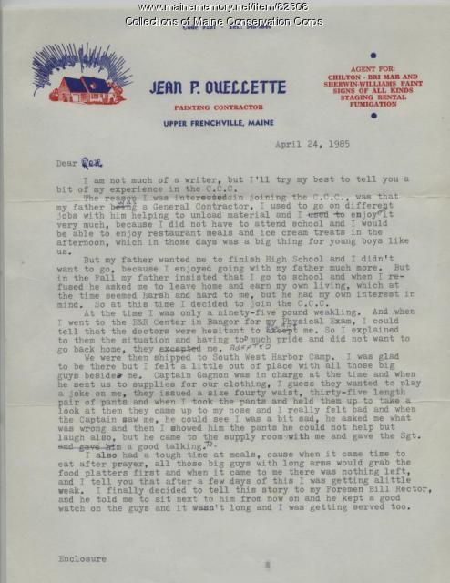 Jean P. Ouellette Letter on CCC, Upper Frenchville, 1985