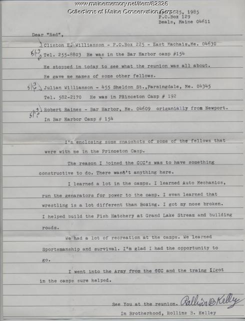 Rollins B. Kelley Letter on CCC, Beals, 1985