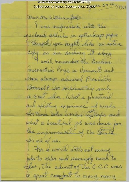 John and Ida Smith Letter on CCC, Readville, 1990