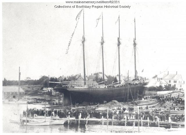 Launch of the Elvira J. French, East Boothbay, 1890